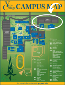 Map of Yuba College Campus with wifi hotspots